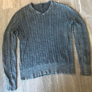 John Varvatos Charcoal Gray Cable Knit Pattern